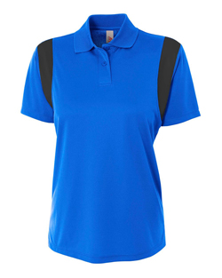 A4 Ladies Color Block Polo with Knit Collar.